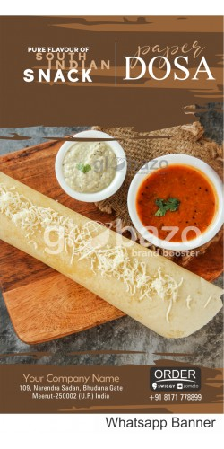 Pure Flavour of South Indian Snacks Paper Dosa with Sambhar and coconut Chatni